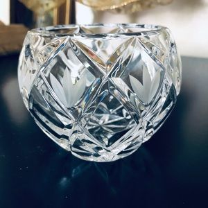 Rose Bowl Crystal Vase Clear Hand Cut